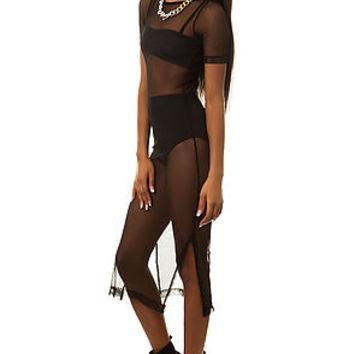 The Fishnet Dress in Black on Wanelo