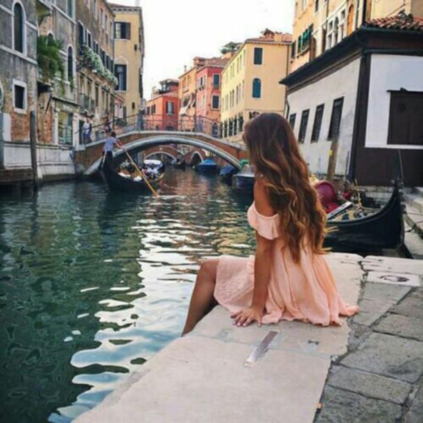 dress peach dress chiffon dress venice beautiful romantic girly dress summer dress style lifestyle romantic dress