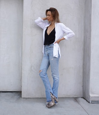 croptopia blogger jeans shoes black top white blouse button up high waisted jeans ripped jeans animal print booties