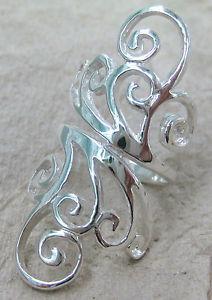 Solid 925 Sterling Silver Plain Long Filigree Swirl Women'S Dress Ring | eBay
