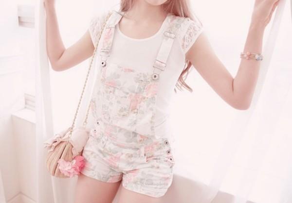 shorts denim overalls overalls floral pastel floral overalls jumpsuit flowers white