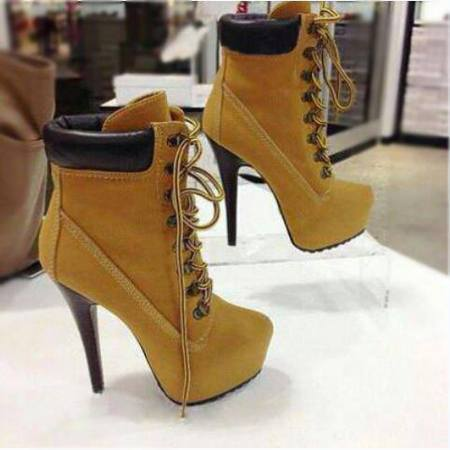 high heel boots for women winter 2013 new brown lace up  ankle bootie rubber genuine leather shoes-in Boots from Shoes on Aliexpress.com