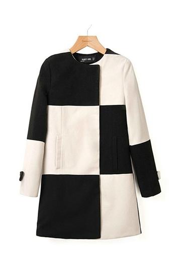Black and White Plaid Wool Coat [FEBK0387]- US$49.99 - PersunMall.com