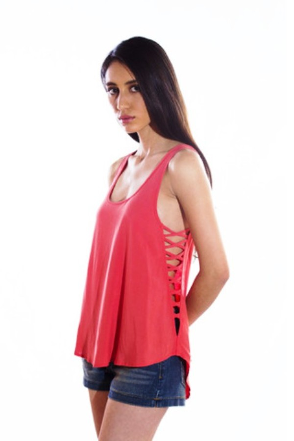 blouse top tank top coral sexy