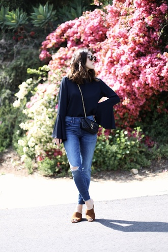 her imajination blogger sunglasses jewels blue top bell sleeves long sleeves yves saint laurent black bag ripped jeans brown shoes