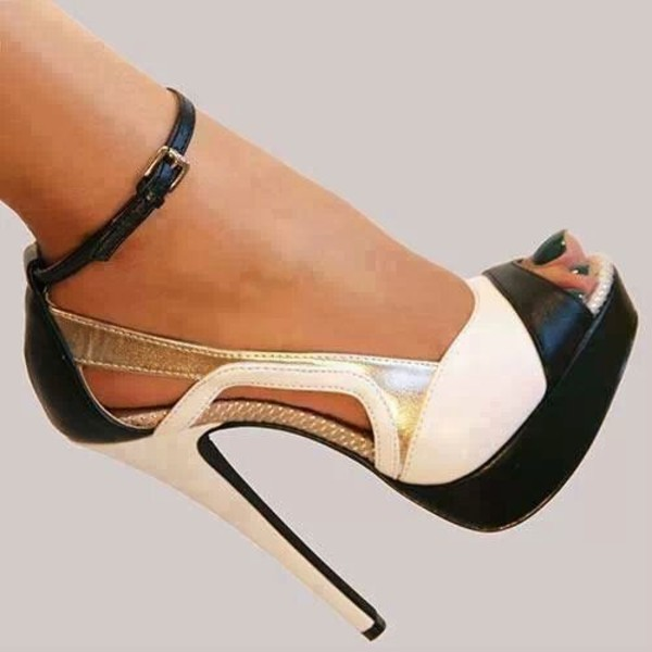 shoes heels black white sexy