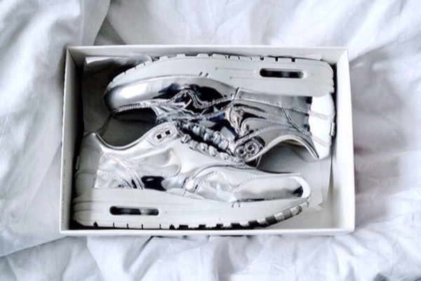 shoes nike sneakers sneakers shiny shoes silver