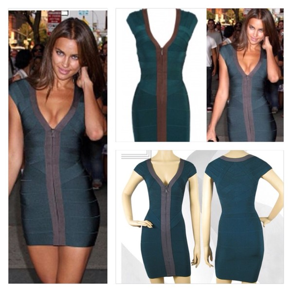 dress green zip bandage dress