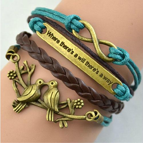 Romance Couple Bird Braided Wax String Charm Bracelet [grxjy5120199] on Luulla