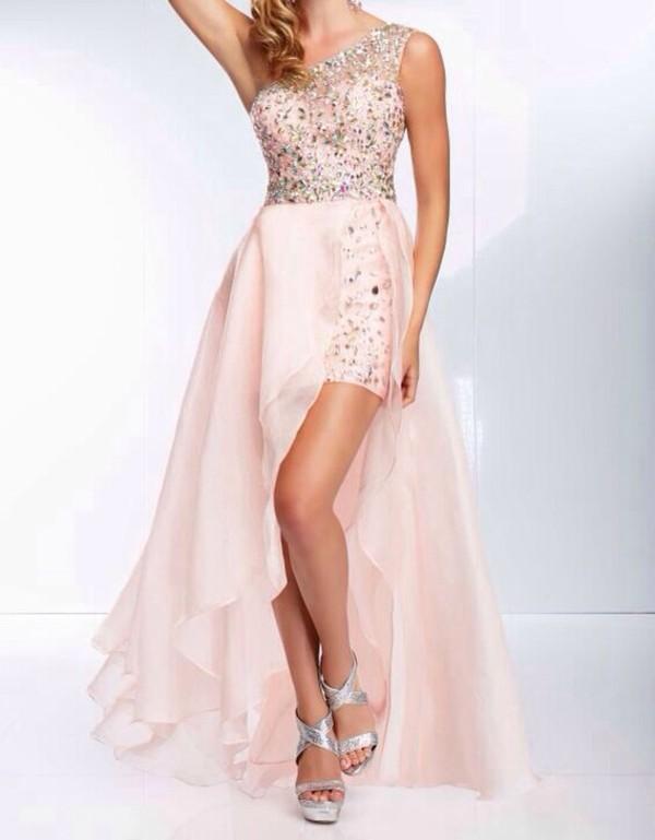 dress sequins high low prom dress light pink