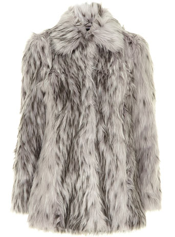 Grey tipped faux fur coat - Sparkle  - Magazine  - Dorothy Perkins