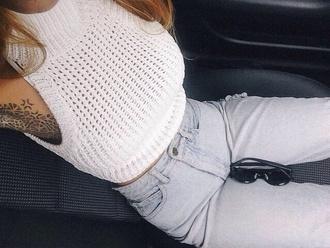 tank top white white crochet crochet top sleeveless cute clothes pants jeans knot twist blouse