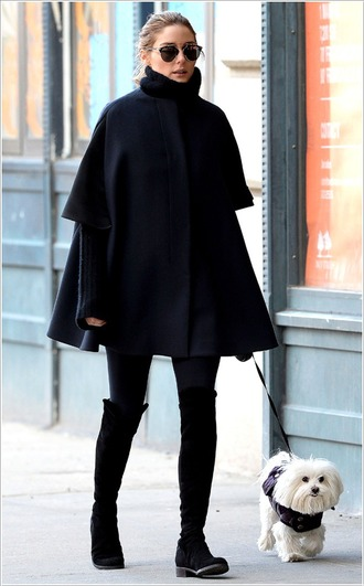 coat cape olivia palermo winter coat winter outfits shoes boots knee high boots over the knee boots sunglasses dior sunglasses