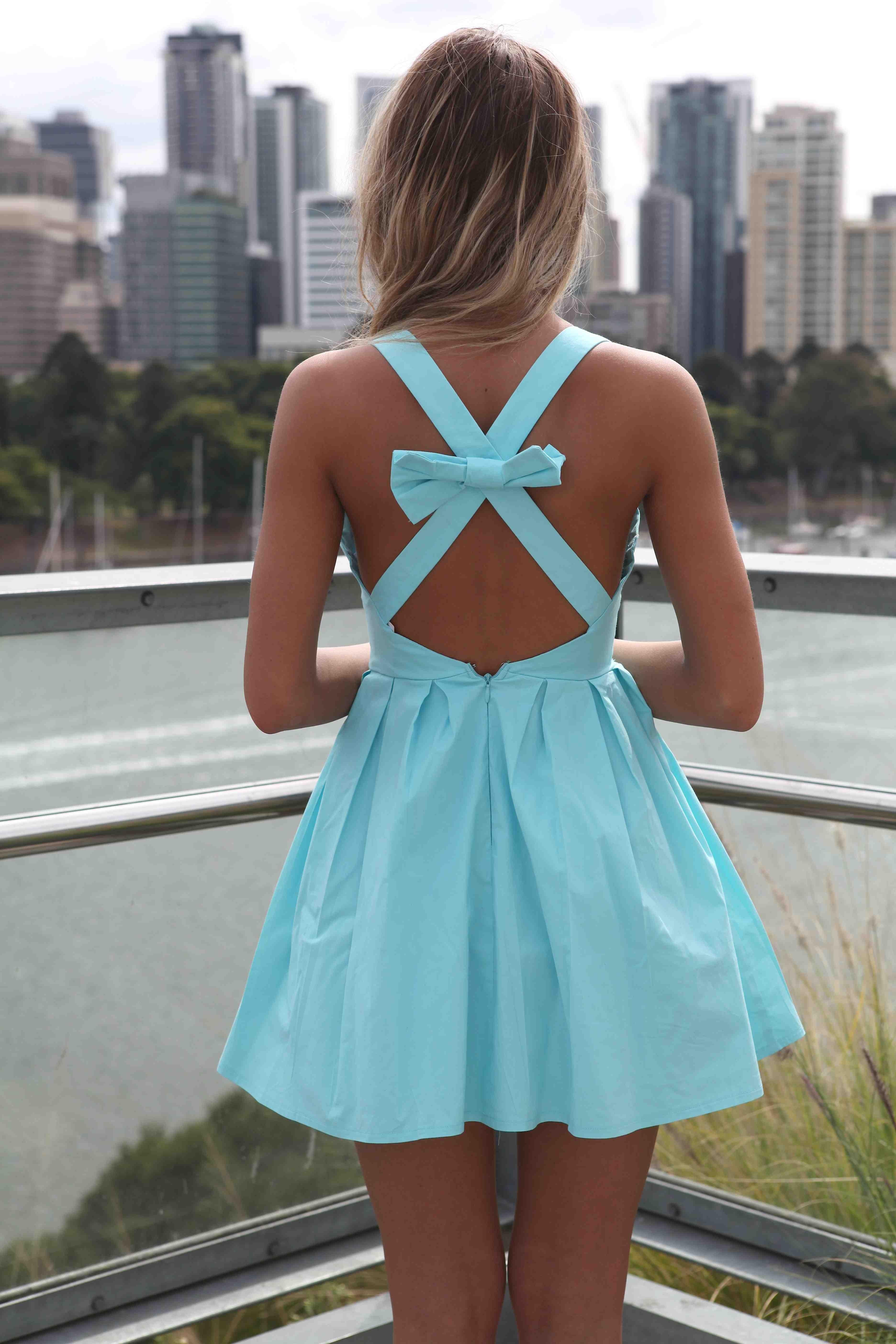Blue Bow Back Dress PRE-ORDER   Fashiion On Fire