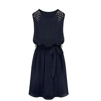 Amazon.com: Zicac Women's Chiffon Beaded Shoulder Bowbelt Sleeveless Pleated Dress: Clothing
