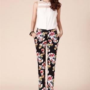Women's Casual Pants Slim Ink Printing [#373] on Luulla