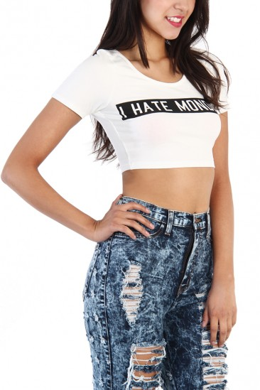 OMG I Hate Monday Crop Top - White