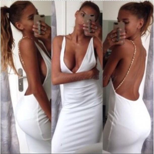 dress white dress sexy dress sparkle clubwear chain