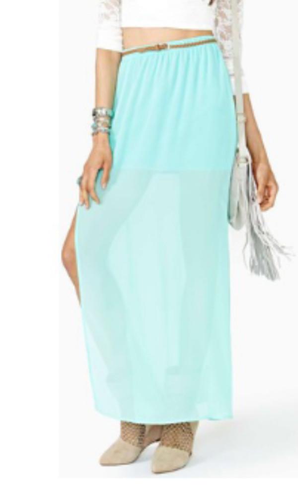 skirt maxi long maxi skirt green mint