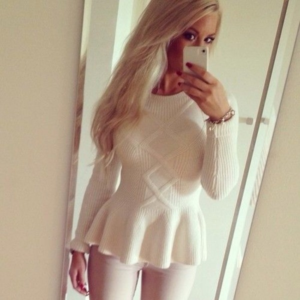 shirt white sweater peplum cozy winter outfits peplum top blouse jacket white crop tops knitted cardigan knitted sweater cream dress winter sweater winter sweater winter outfits fall sweater fall outfits winter coat pretty