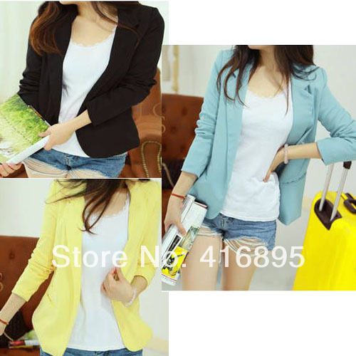 2014 New Arrival Korea Style Yellow Blazers Basic Jacket Coat Candy Color Suits For women M XL 4260314-in Basic Jackets from Apparel & Accessories on Aliexpress.com