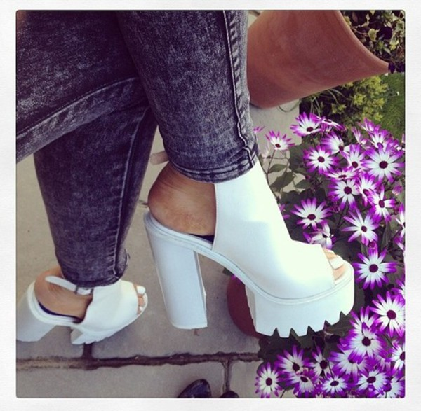 shoes high heels sandals white jeans denim