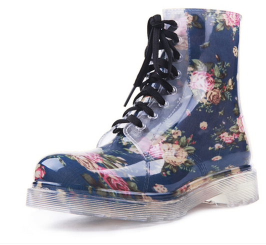Transparent crystal jelly Floral Martin boots from Fashion4you on Storenvy