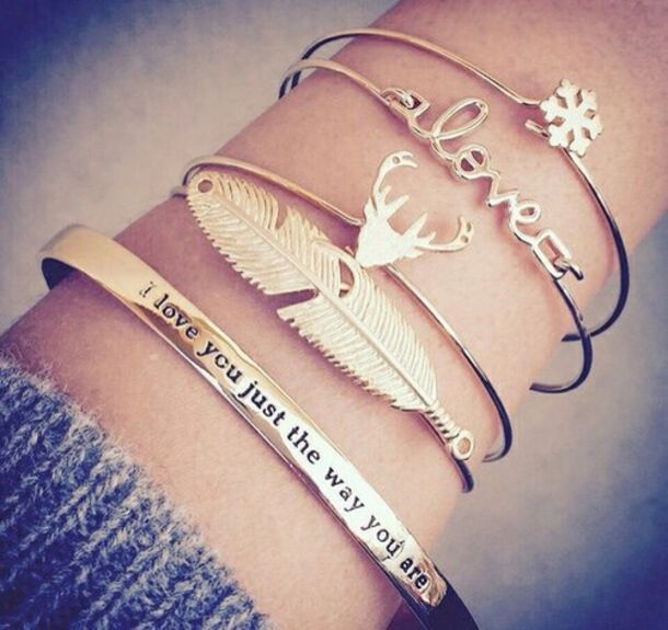 jewels bracelets gold cute girly valentines day