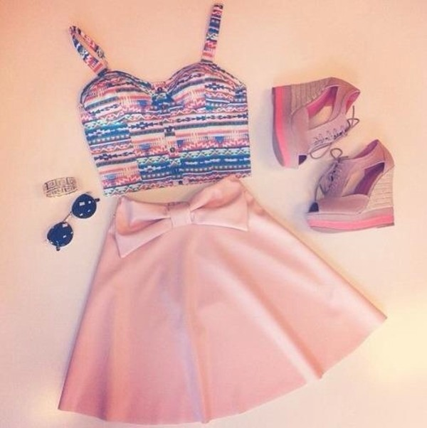 tank top aztec bralette bralette skater skirt pink bow ribbon teenagers skirt shoes dress