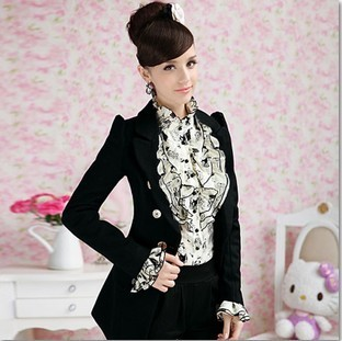 2014 autumn and winter black gold buckle slim long sleeve wool suit jacket 8886-inBlazer & Suits from Apparel & Accessories on Aliexpress.com