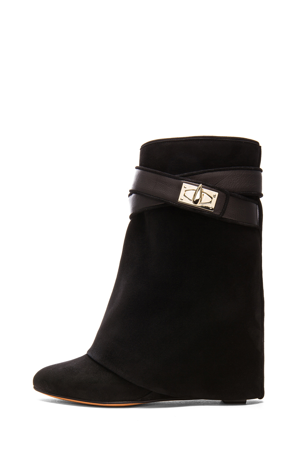 GIVENCHY|Shark Lock Suede Boots in Black