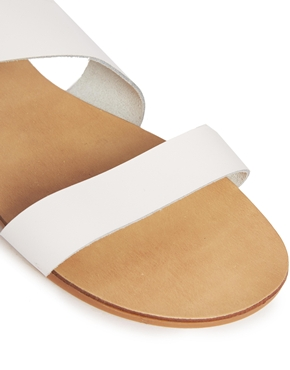 New Look Wide Fit | New Look Hana Wide Fit White Leather Strap Flat Sandals at ASOS