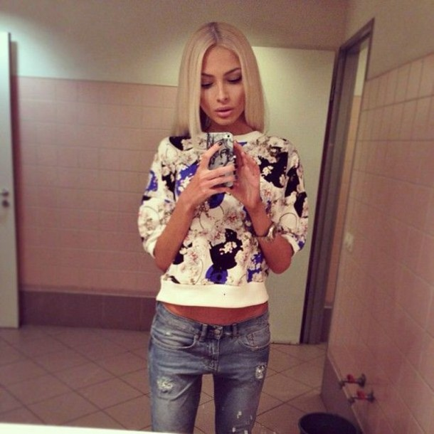 alena shishkova jumper flowers sweater jeans floral sweater
