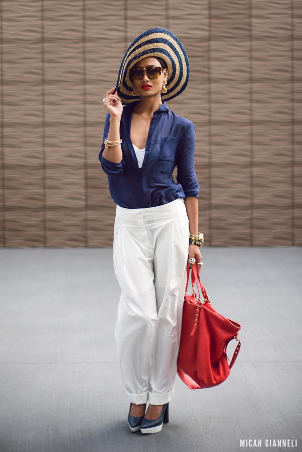 micah gianneli sunglasses jewels hat shirt t-shirt pants bag shoes