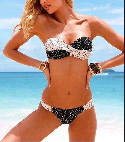 NEW Lady'S Sexy Padded Polka DOT Bikini Push UP Swimwear Swimsuit TOP Botton   eBay