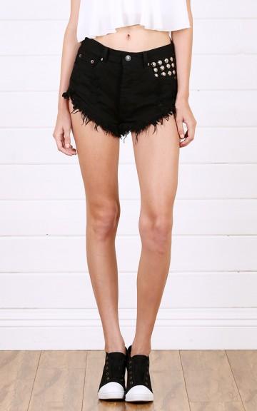 Black Studded High Waisted Denim Shorts and Shop Shorts at MakeMeChic.com