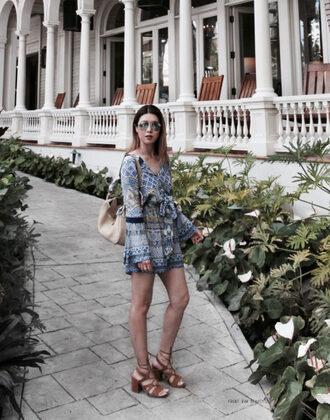 frontrowbeauty blogger sunglasses romper jewels hat shoes bag coat make-up sandals shoulder bag