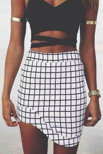 arm cuff gold bracelet cut out crop top crop tops black crop top sexy top high waisted skirt grid black and white skirt patterned skirt pattern sexy outfit asymmetrical skirt summer outfits party outfits summer holidays gold watch skirt blouse dress black and white dress checkered black and white asymmetrical