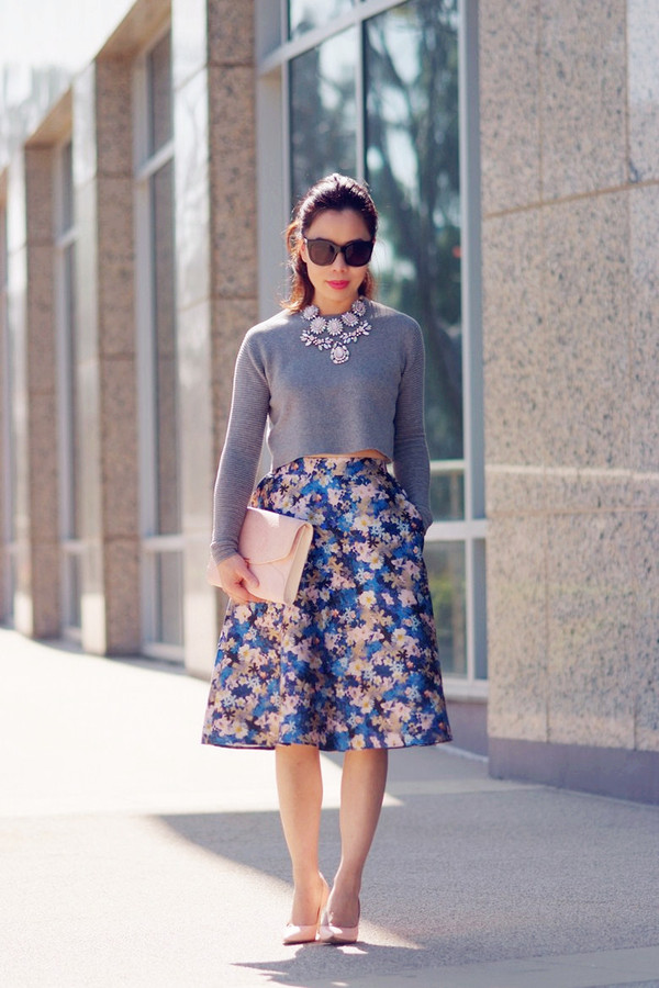 hallie daily sweater skirt bag shoes sunglasses jewels