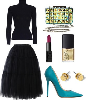 skinny hipster blogger stilettos lipstick turtleneck black sweater black skirt tulle skirt clutch diamonds nail polish top make-up jewels bag skirt shoes