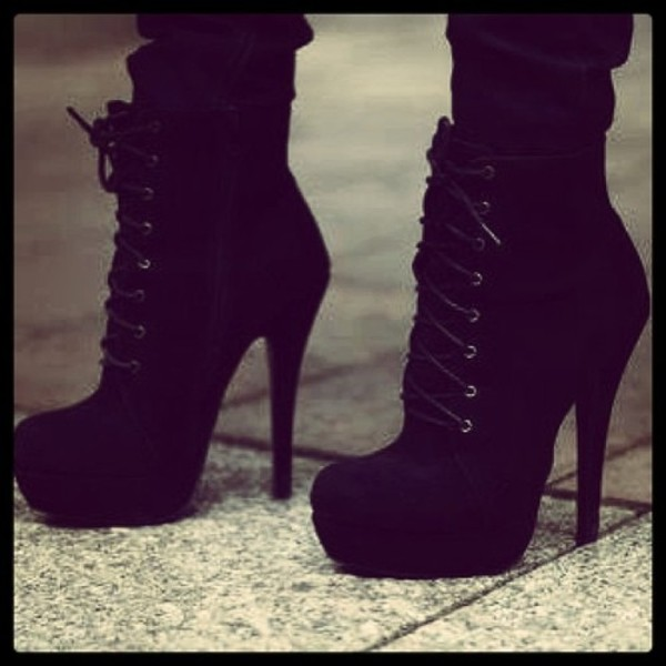 shoes ankle boots laced heels heels boots black fazhion suade shoes