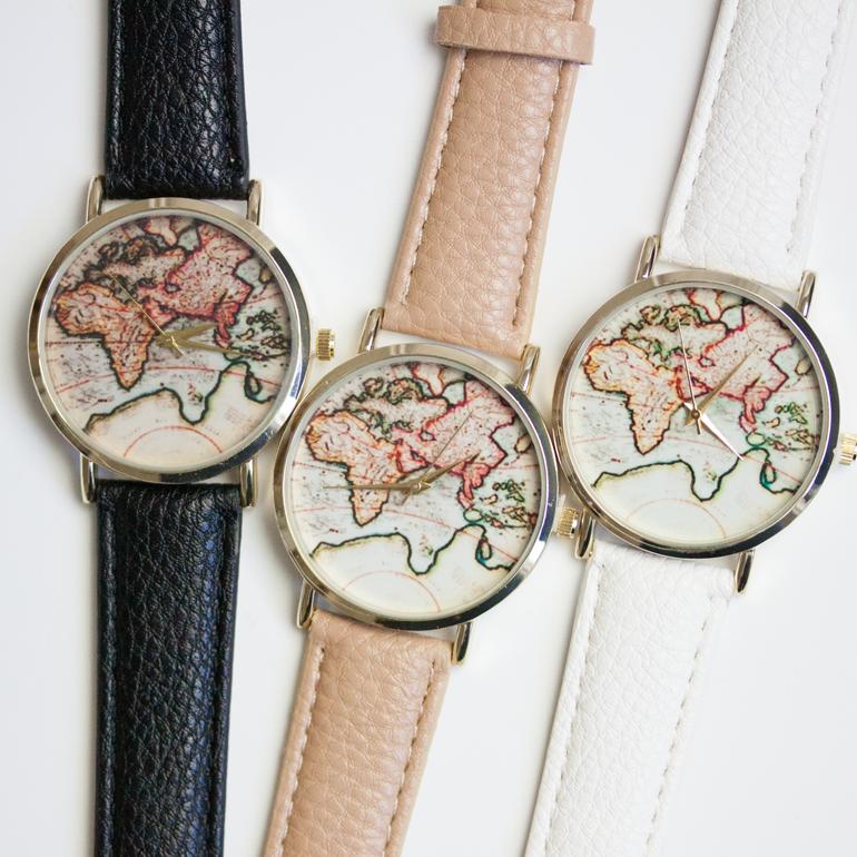 World Map Watch VINTAGE WORLD MAP   WATCH – BEUNIKI World Map Watch