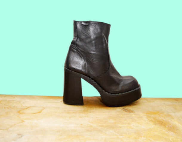 shoes boots ankle boots platform shoes platform boots 90s style grunge goth goth hipster leather club kid