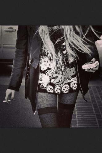 the pretty reckless grunge black and white leather jacket taylor momsen cigarette little black dress skull shirt