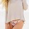 Beige turtle neck pullover split back knitwear sweater