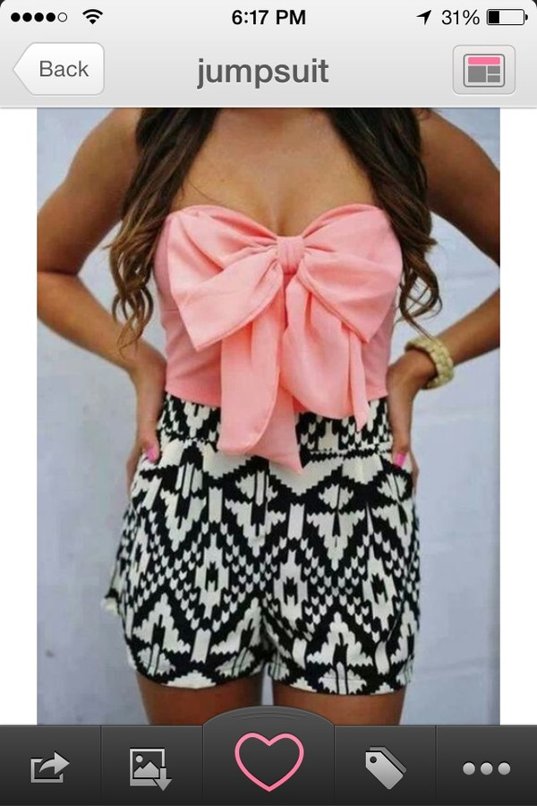 dress black and white tribal pattern tribal pattern pink bow jumpsuit strapless shorts short cute jumpsuit