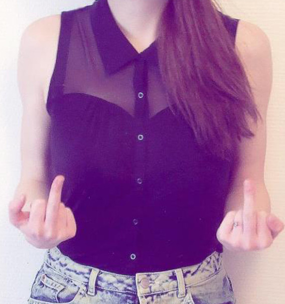 shirt black sleeveless transparent