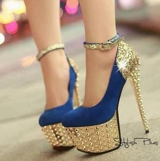 Gold Blue High Heels - Shop for Gold Blue High Heels on Wheretoget