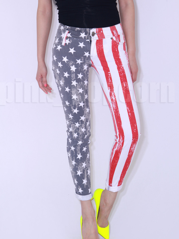 American Flag Printed Skinny Jeans-in Jeans from Apparel & Accessories on Aliexpress.com