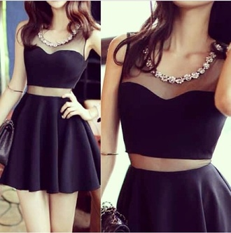 black dress statement necklace mini dress party dress sexy